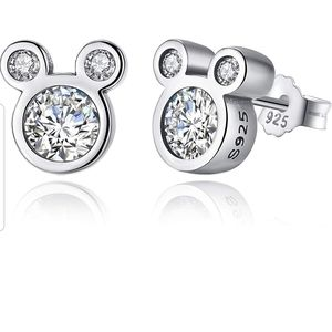Mouse Stud Earrings CZ Sterling Silver Stamped